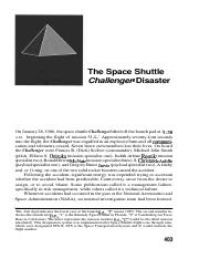 Kerzner's 2nd ed. PM Space Shuttle Challenger Risk Case