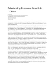 Dunaway e Prasad - Rebalancing Economic Growth in China