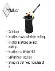 INTUITIVE ppt - Intuition Definition Intuition as weak