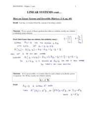 4 - More on Linear Systems and Invertible Matrices