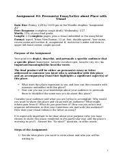 Assignment 2 Persuasive Essay or Letter about Place Assignment Sheet.docx