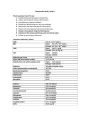 Therapeutics Study Guide 1