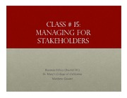 Business Ethics Class 15 - Stakeholder theory