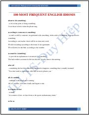 100 MOST FREQUENT ENGLISH IDIOMS