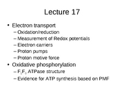 Lecture 17 Electron Transport and Oxidative Phosphorylation