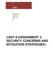 Unit 8 Assignment 1_Security Concerns and Mitigation Strategies