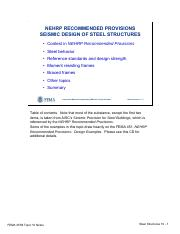 Topic10 Seismicdesignofsteelstructuresnotes Pdf Nehrp Recommended Provisions Seismic Design Of Steel Structures U2022 Context In Nehrp Recommended Course Hero