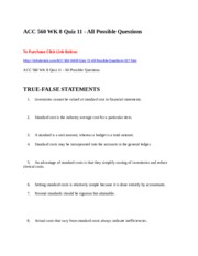 ACC 560 WK 8 Quiz 11 - All Possible Questions