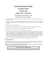 (www.entrance-exam.net)-Institute of Actuaries of India-Subject SA6- Investment Sample Paper 11