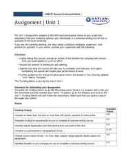 unit 4 business communication assignment brief