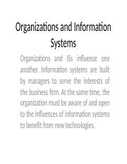 Chapter Three Organizations and Information Systems