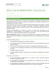 COURSE OUTLINE ELEMENTARY CALCULUS- BCO116. (1).docx