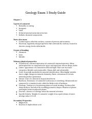 Geology Exam 1 Study Guide