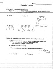 FACTORING WORKSHEET 2