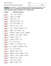 balancing chemical equations exercises pdf