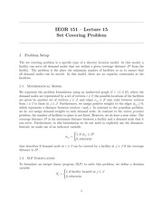 IEOR 151 - Lecture 15, Set Covering Problem - Fall 2014