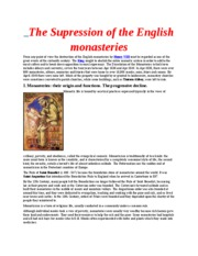 The Supression of the English monasteries