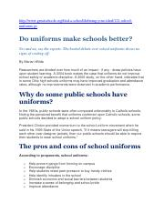 CBA research for 'School Uniforms' topic