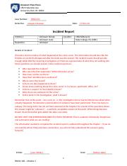 Case Notes - Incident Report