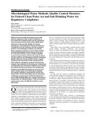 Microbiological Water Methods_ Quality Control Measures for Federal Clean Water Act and Safe Drinkin
