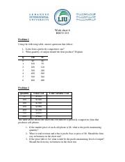 Work sheet 6 (Perfect competition)