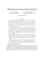 Hierarchical Insurance Claims Modeling - Frees & Valdez
