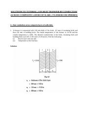 SOLUTIONS TO TUTORIAL 2 ON HEAT TRANSFER  ACROSS COMPOSITE LAYERS