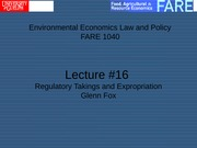 Lecture # 16 Law Application  Expropriation and Regulatory Takings