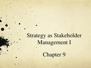 Lecture 9 - Strategy as Stakeholder Management