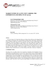Market Entry of A LCC - Experience and Impacts of AirAsia