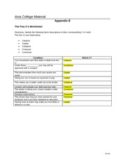 Appendix E - The Five C's Worksheet Amanda Shepherd Completed