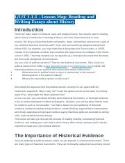1.1.1 - Lesson Map - Reading and Writing Essays about History