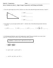 AZ MATH 111 Quiz #1 Review - Rt Tri Trig