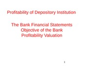 Profitability of depository institutions lecture