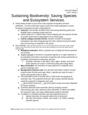 Chapter 9 Sustaining Biodiversity: Saving Species and Ecosystem Services..docx
