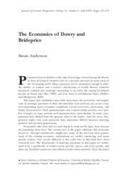 The Economics of Dowry and Brideprice
