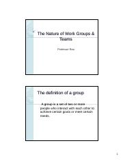 Chapter 10 - The Nature of Work Groups & Teams