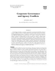 Dey, A., 2008, Corporate governance and agency conflicts, Journal of Accounting