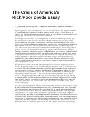 The Crisis of America's Rich and Poor Divide Essay.docx