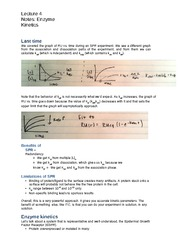 Lecture 4 Notes Enzyme Kinetics