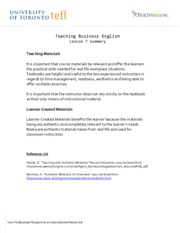 Teaching Business English - Lesson 7 Summary