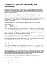 Lecture 19  Asymptotic Complexity and Recurrences