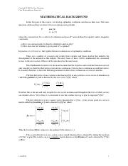 Handout Mathematical Background