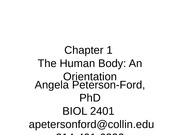 Chapter 1 The Human Body Dr. Ford