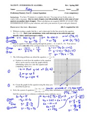 Test Solution on Constructing and graphing lines, solving systems of equations