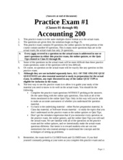 Practice Exam for Exam 1 with answers