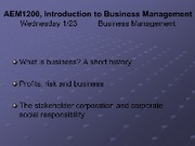 Lecture Wednesday 123 - What is business