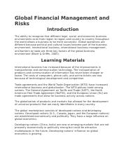 Global Financial Management and Risks.docx
