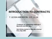 I - INTRODUCTION TO CONTRACTS