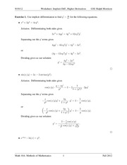 Implicit Differentiation Worksheet Solution - Worksheet Implicit ...